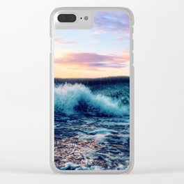 Waves Crashing At Sunset Clear iPhone Case