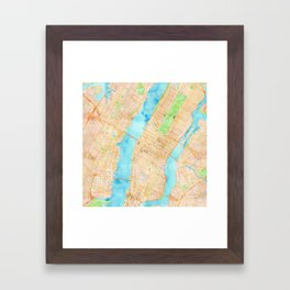 New York City watercolor map Framed Art Print
