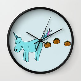 Unicorn Pooping Tacos Wall Clock