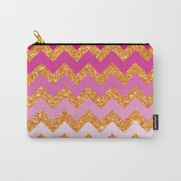 Rosey Gold Chevron Carry-All Pouch