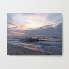 Beach, Sea and Sunset Metal Print