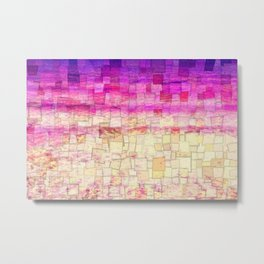 Pink Sea Mosaic Metal Print
