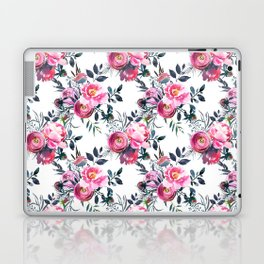 Modern pink gray hand painted watercolor floral pattern Laptop & iPad Skin