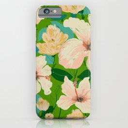Tropical Hibiscus - green iPhone Case