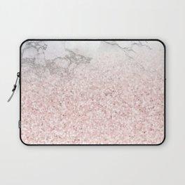 She Sparkles - Pastel Pink Glitter Rose Gold Marble Laptop Sleeve