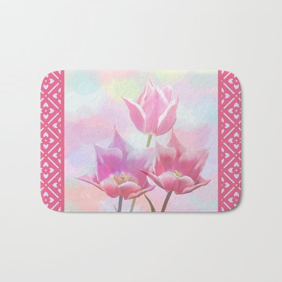Painterly pastel spring with tulips Bath Mat