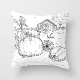 Harvest Sketch Throw Pillow