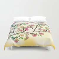 cherry blossoms Duvet Covers featuring Cherry Blossoms by famenxt