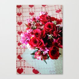 Hearts And Flowers Canvas Print