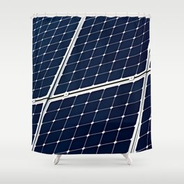 Image Of A Photovoltaic Solar Battery. Free Clean Energy For Everyone Shower Curtain