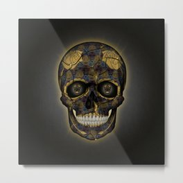 Skull Yellow | Tessellating Skulls Pattern | M. C. Escher Inspired Geometric Artwork by Tessellation Metal Print