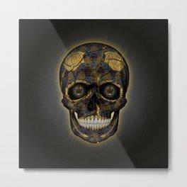 Skull Yellow | Tessellating Skulls Pattern | M. C. Escher Inspired Geometric Artwork by Tessellation Metal Print