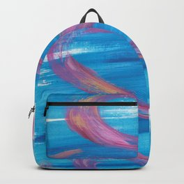 Bounce - Abstract painting in modern bright blue contrasting with fuchsia pink Backpack