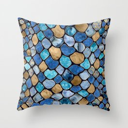 Faux Snake Skin Blue marble and gold on black Throw Pillow