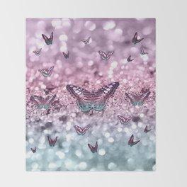 Pastel Unicorn Butterfly Glitter Dream #2 #shiny #decor #art #society6 Throw Blanket