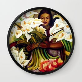 1938 Classical Masterpiece 'Alcatraces Flower Seller' by Diego Rivera Wall Clock