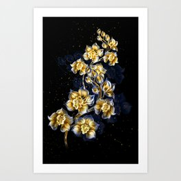 Golden Orchids Art Print