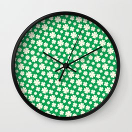 Off-White Four Leaf Clover Pattern with Green Background Wall Clock