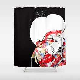 Woman wears a traditional kimono, Body tied by rope, Shibari, Japanese BDSM art, Fashion illusration Shower Curtain