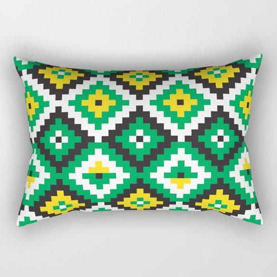 Aztec pattern - green, yellow, black, white Rectangular Pillow