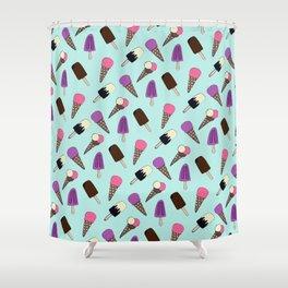 Cute Summer Frozen Treats Ice Illustration Pattern Shower Curtain