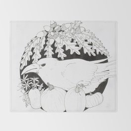 Crow with Pumpkins and Oak Throw Blanket