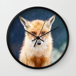 I Can't Stand the Rain (Red Fox in a rain shower) Wall Clock