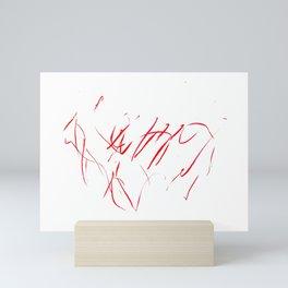 Red Scribble Mini Art Print