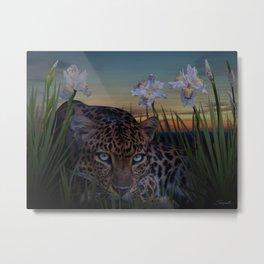 Leopard Stalking Metal Print