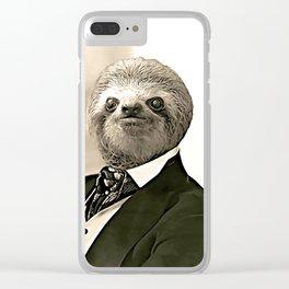 Gentleman Sloth in Authoritative Pose - Cartoon Clear iPhone Case