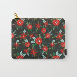 Floral christmas painted florals flower decor seasonal holidays red green Carry-All Pouch