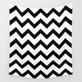 Simple Black and white Chevron pattern Wall Tapestry