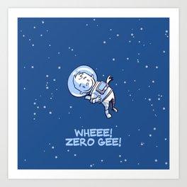 Little Astronaut - Wheee! Zero Gee! (Captioned) Art Print
