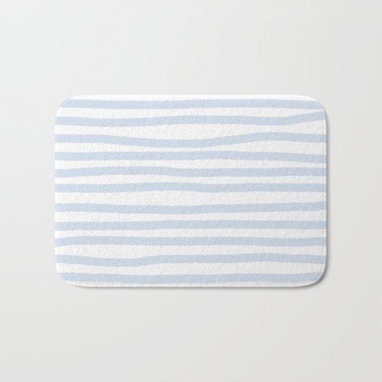Light Blue Stripes Horizontal Bath Mat