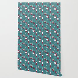 Retro Kitchen - Teal and Raspberry Wallpaper