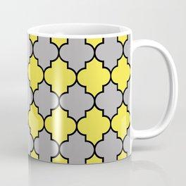 Moroccan Trellis, Latticework - Gray Yellow Black Coffee Mug