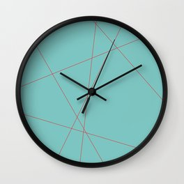 Red Lines on Blue Wall Clock