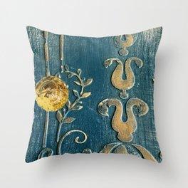 Original Art - A Piece of Versailles Blue & Gold Gilding Art Block Throw Pillow