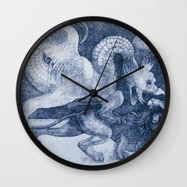 "Leonardo da Vinci ""Fight between a dragon and a lion"" (blue) Wall Clock"