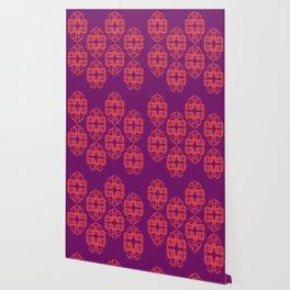 Luxury monograms Vint. pink Wallpaper