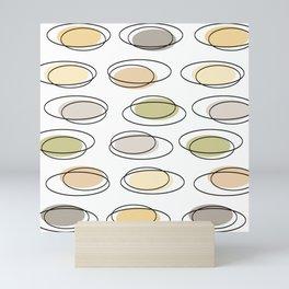 Mid Century Modern Ovals Scribbles Pastel Mini Art Print