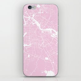 Amsterdam Pink on White Street Map iPhone Skin