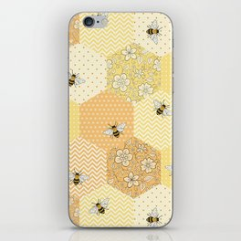 Patchwork Bees Pattern iPhone Skin
