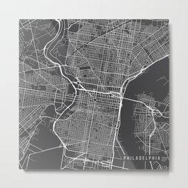 Pennsylvania Map, USA - Gray Metal Print