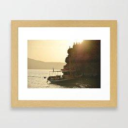Santorini Sail Away Framed Art Print