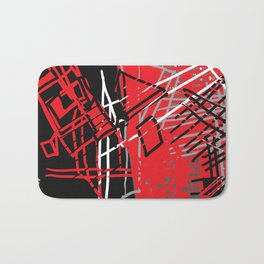 Red Abstract Bath Mat