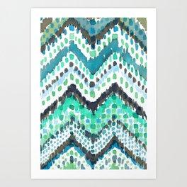 Dappled Chevron in Aqua Art Print