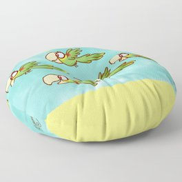 Double Yellow-Headed Amazon Parrot Pandemonium! Floor Pillow