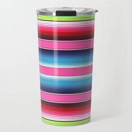 Pink Green Blue Mexican Serape Blanket Stripes Travel Mug