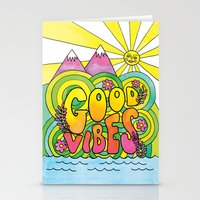 good vibes Stationery Cards featuring Good Vibes by Rachel Beyer